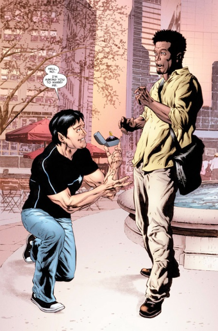 Northstar proposing to boyfriend Kyle in Astonishing X-Men #50