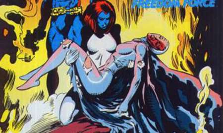 Mystique cradles her dead lover Destiny