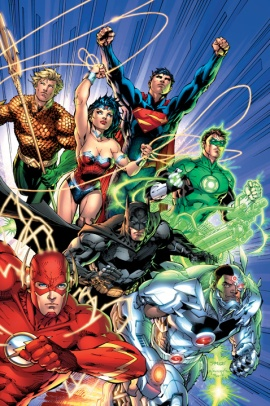 Superman, Batman, Wonder Woman, Flash, Green Lantern, Aquaman, Cyborg