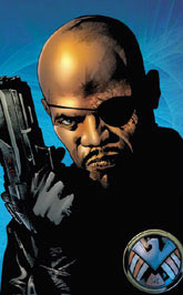 Ultimate Nick Fury holding gun