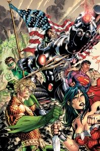 Superman, Batman, Wonder Woman, Green Lantern, Flash, Cyborg