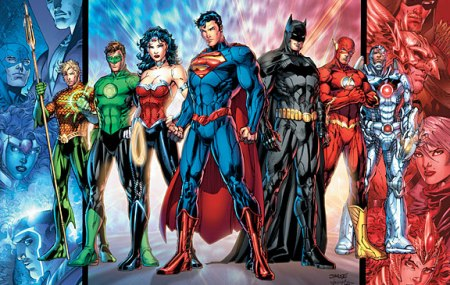 Batman, Superman, Wonder Woman, Green Lanter, Aquaman, Flash, Cyborg