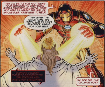 "Iron Man calls Hope ""the girl"" while fighting Emma in AvX #2"