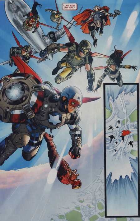 The Avengers in armor jumping out of a plane in AvX #6