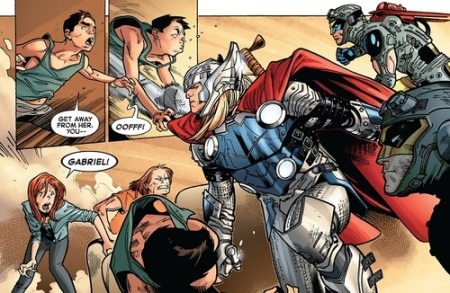 Thor punching a kid in Avengers Vs X-men #6