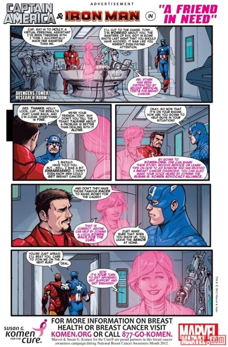 Komen Breast Cancer Ad Appearing in Oct Marvel Comics