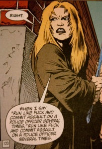 Channon about to commit assault on a police officer in Transmetropolitan