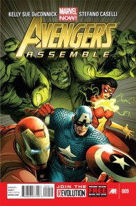 Iron Man, Captain America, Hulk, and Spider-Woman of Avengers Assemble