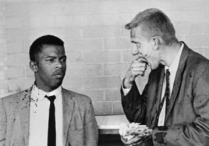 Freedom Riders John Lewis and James Zwerg after they were attacked by segregationists in Montgomery, Alabama, May 20, 1961