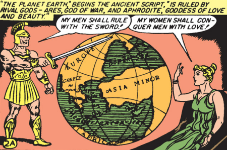 Ares and Aphrodite argue in Wonder Woman (1942) #1