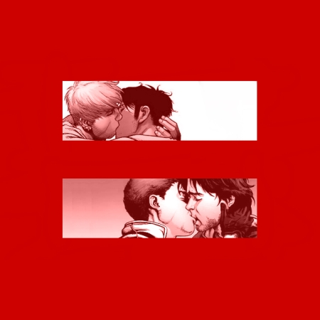 Young Avengers' Hulkling and Wiccan and X-Factor's Shatterstar and Rictor kissing