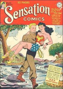 Steve Trevor carrying Wonder Woman