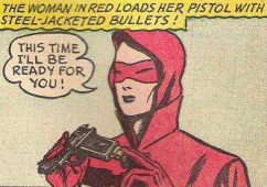 The Woman in Red may be comics' first superheroine