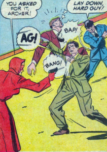 The Woman in Red may be the first superheroine