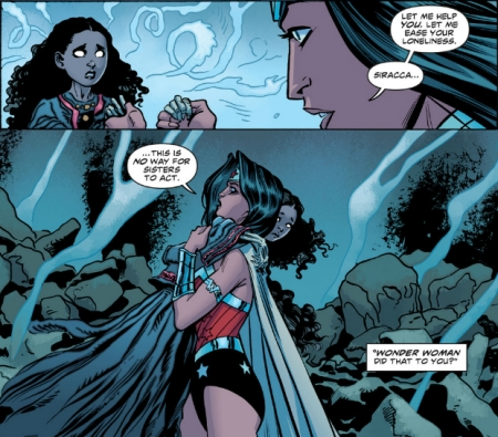 Wonder Woman and Siracca hug in Wonder Woman #14