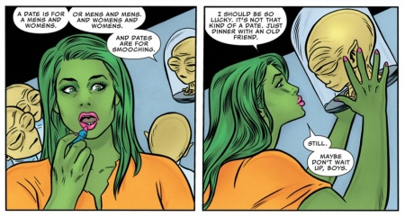 """Tong says """"A date us for a mens and womens. Or mens and mens. And womens and womens. And dates are for smooching."""" in FF #4"""