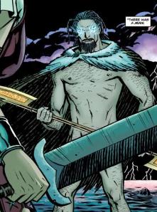 female glaze falls on a nude Zeus in Wonder Woman #3