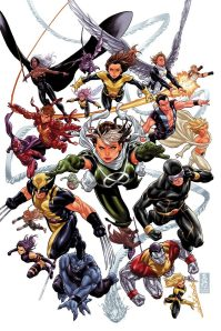 Rogue, Wolverine, Cyclops, Beast, Kitty Pryde, Namor, Emma Frost, Storm, Magneto, and other X-Men