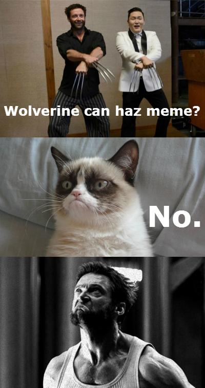 Wolverine can haz meme? Grumpy Cat says no.