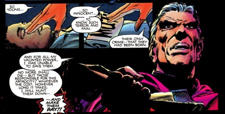 Magneto swears revenge on the Purifiers for the lynching of two young mutants