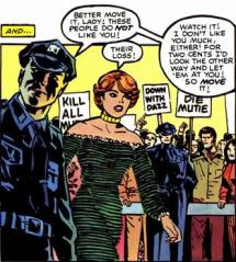 Dazzler threatened by police in front of anti-mutant protesters
