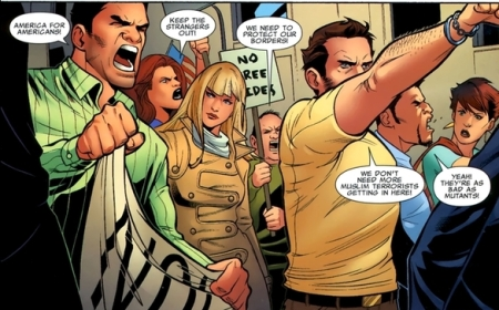 anti-Muslim and anti-mutant protesters from X-Factor 217