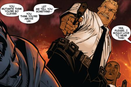 Hijack shot by police in Uncanny X-Men #8