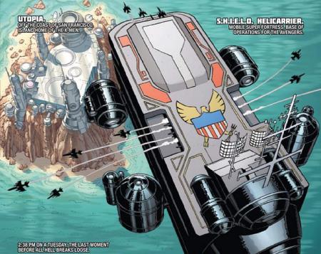 S.H.I.E.L.D. Helicarrier from Avengers Vs X-Men #1
