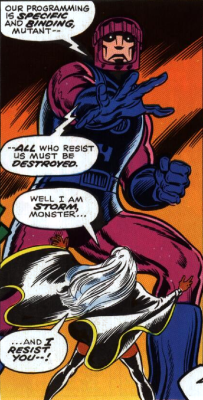 Storm fighting a Sentinel in X-Men #98 by Chris Claremont and Dave Cockrum