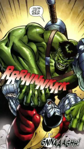 The Hulk breaks Colossus' arms.