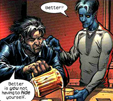 Wolverine and Nightcrawler share a drink in Wolverine Vol 3#6