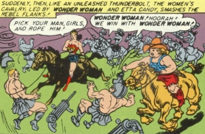 Golden Age Wonder Woman and the Holliday ride into battle art by H. G. Peter