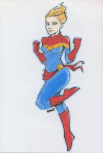 Katee Sackhoff Captain Marvel color sketch by Kendra Stout