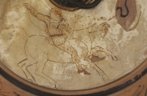 Mounted Amazon about to lasso a Greek warrior, by the Sotheby Painter, ca. 460.